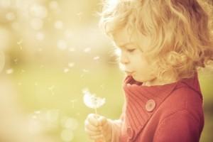 Barn blåser på blomst.Bilde